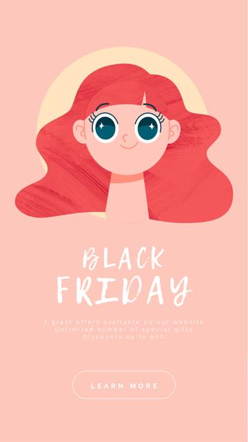 Ontwerpsjabloon van Instagram Video Story van Black Friday Sale Offer Shocked Girl