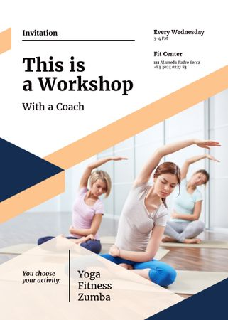 Designvorlage Workshop invitation with Women practicing Yoga für Flayer