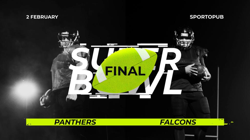 Super Bowl Match Announcement Players in Uniform — Crea un design