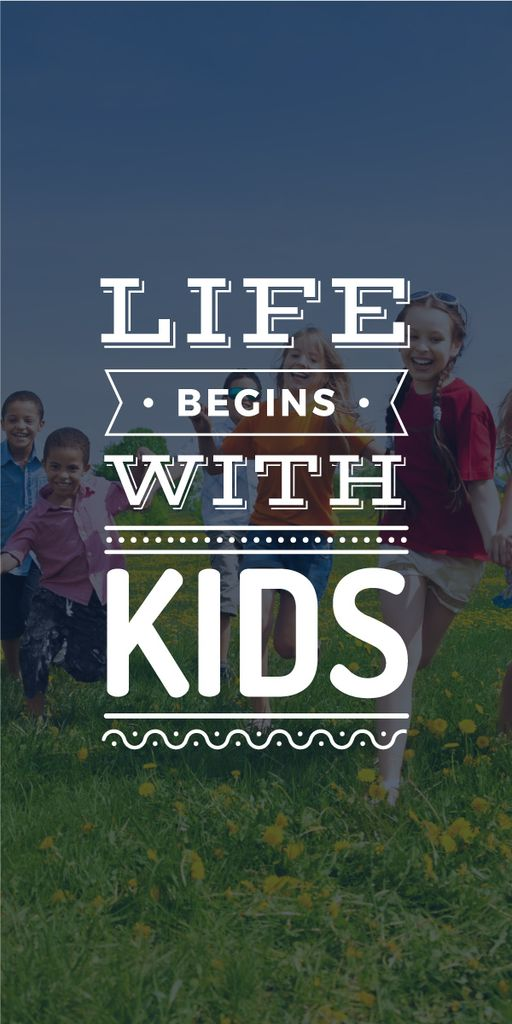Motivational poster with kids on green meadow — Create a Design
