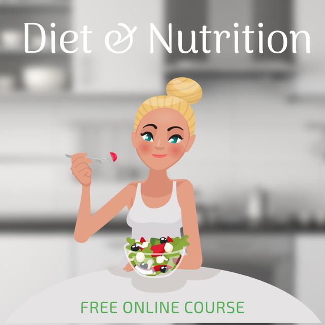 Plantilla de diseño de Woman eating greek salad Animated Post