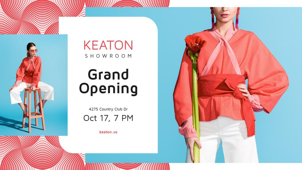 Showroom Grand Opening announcement with Stylish Woman — Crear un diseño