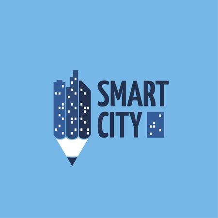 Ontwerpsjabloon van Logo van Smart City Concept with Night Lights