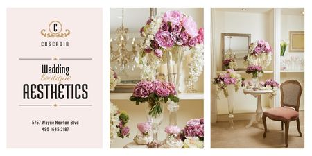 Ontwerpsjabloon van Twitter van Wedding Boutique Ad with Floral Decor