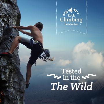 Rock climbing footwear advertisement