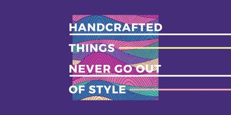 Ontwerpsjabloon van Image van Handcrafted things Quote on Waves in purple