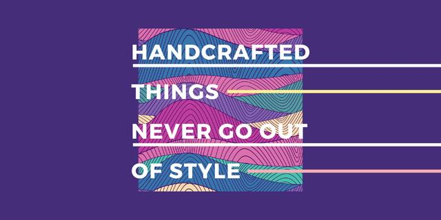 Handcrafted things Quote on Waves in purple Image Modelo de Design