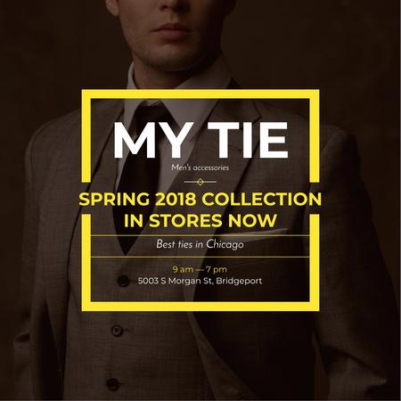 Tie Store Ad with Stylish Man Instagramデザインテンプレート