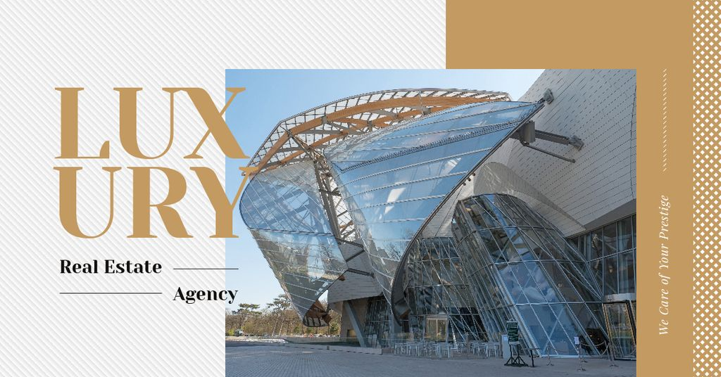 Luxury Real Estate Ad Modern Glass Building | Facebook Ad Template — Modelo de projeto