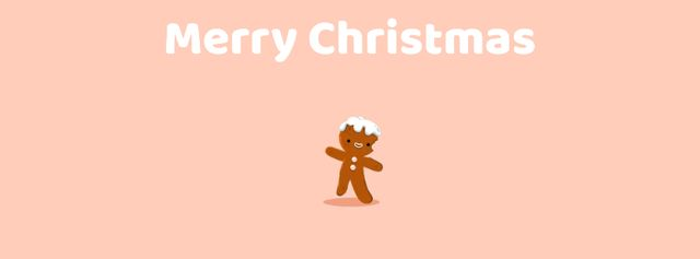 Happy Christmas gingerbread man Facebook Video coverデザインテンプレート