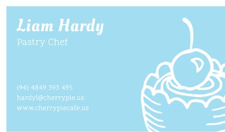 Pastry Chef Contacts with Cake and Cherry Business card Tasarım Şablonu