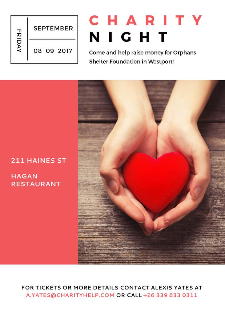 Ontwerpsjabloon van Invitation van Charity event Hands holding Heart in Red