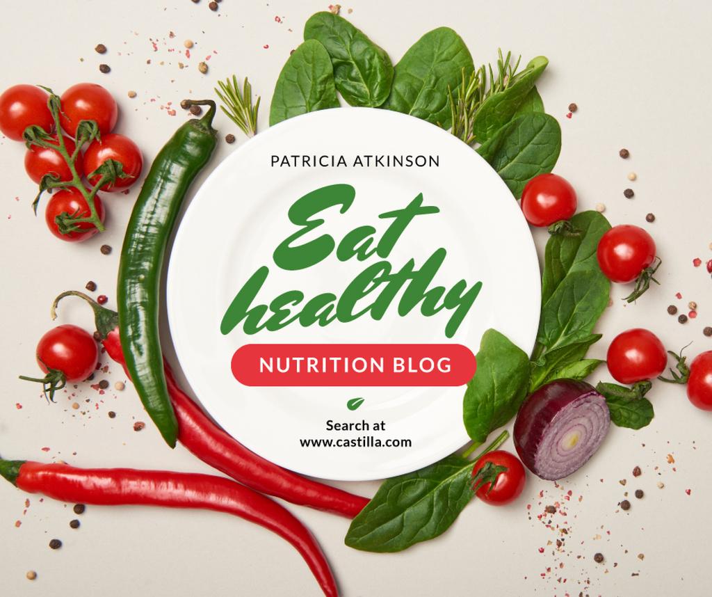 Ontwerpsjabloon van Facebook van Nutrition Blog Promotion Healthy Vegetables Frame