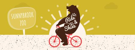 Bear riding on bicycle Facebook Video cover Modelo de Design