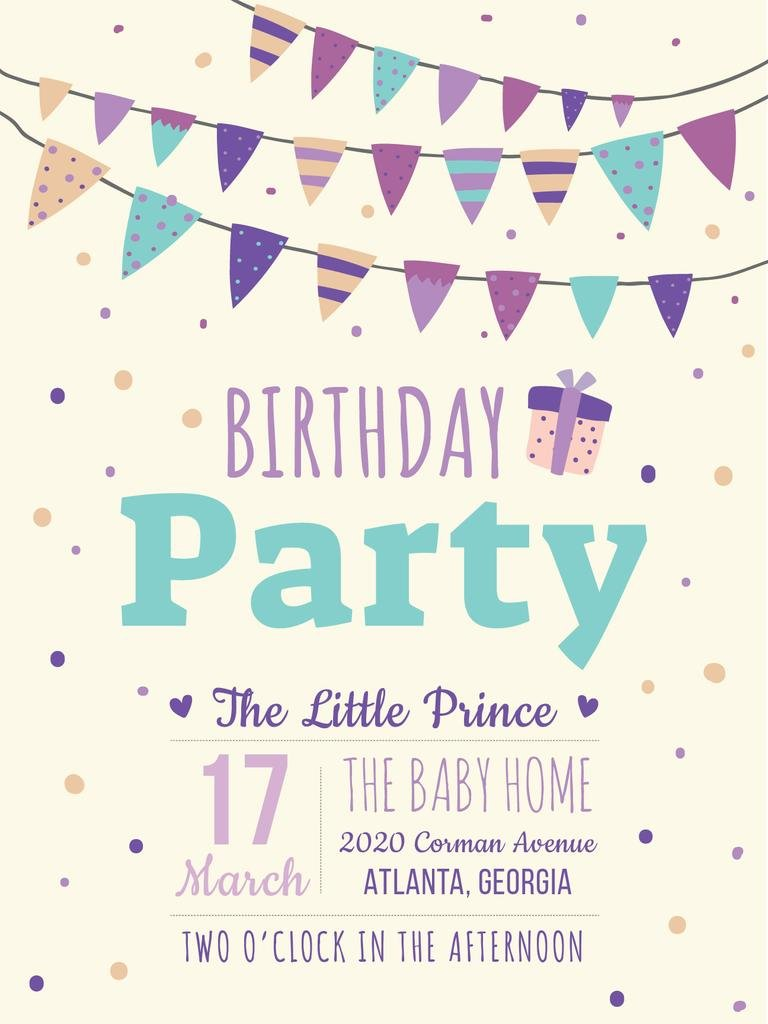 Birthday Party Invitation Card Poster US 18x24in Template Design