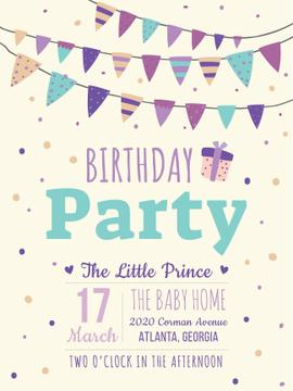 Birthday party invitation with Garland