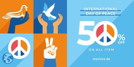Plantilla de diseño de International Day of Peace Symbols on Blue Image