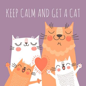 Cute Cats with heart