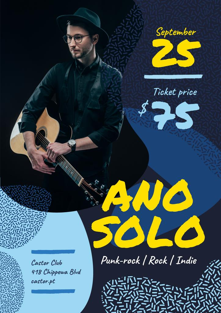 Concert Invitation Man Playing Guitar in Blue — Create a Design