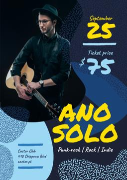 Concert Invitation Man Playing Guitar in Blue | Flyer Template