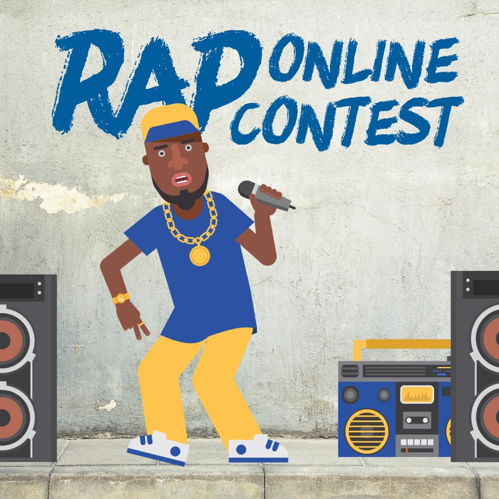 Rap Contest Announcement Man Performing with Microphone — Створити дизайн
