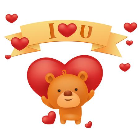 Ontwerpsjabloon van Animated Post van Teddy bear with Heart and Ribbon on Valentine's Day