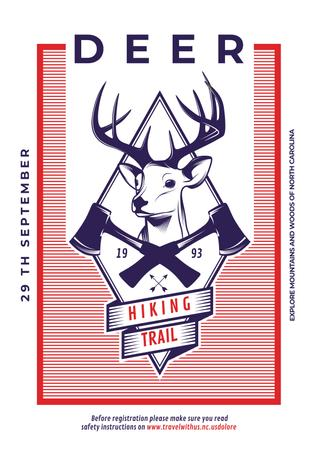 Ontwerpsjabloon van Poster van Hiking trail advertisement with deer