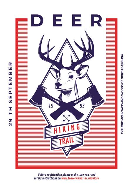 Hiking trail advertisement with deer Poster Design Template