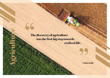 Harvester working in field