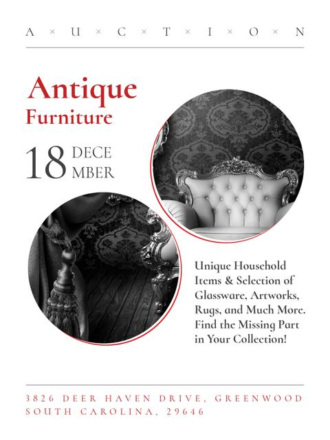 Antique Furniture Auction with armchair Poster US Design Template