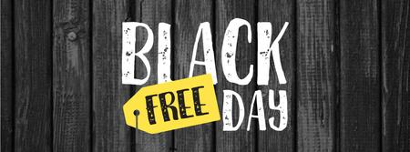 Black Friday sale on wooden background Facebook cover – шаблон для дизайну