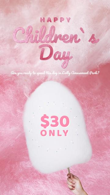 Plantilla de diseño de Children's Day Offer Hand Holding Cotton Candy Instagram Video Story