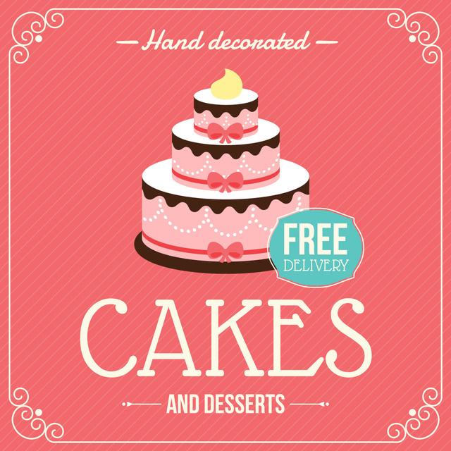 Layered pink Cake for Bakery ad Instagram AD – шаблон для дизайну