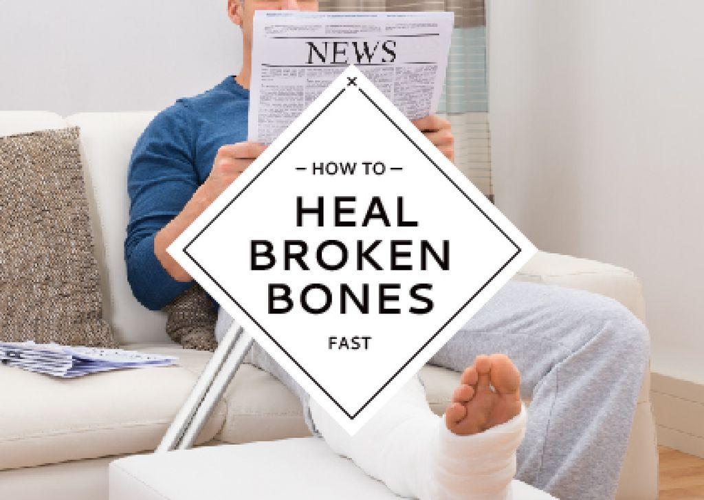 Ontwerpsjabloon van Card van Man with broken bones sitting on sofa reading newspaper