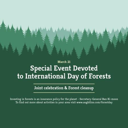 International Day of Forests Event Announcement in Green Instagram AD Tasarım Şablonu