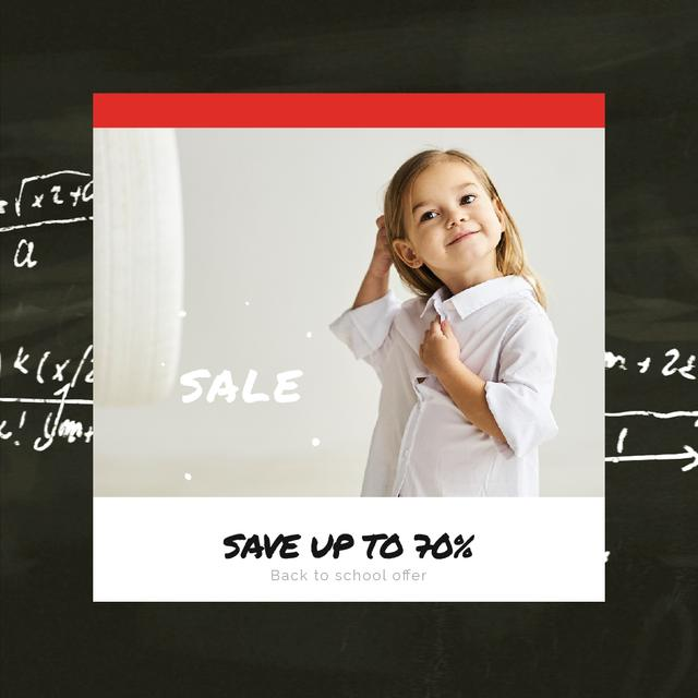 Sale Offer with Smiling Girl in School Shirt Animated Post Design Template
