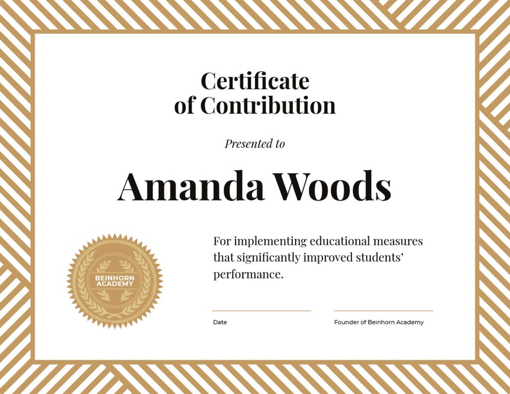 Plantilla de diseño de Education process Contribution gratitude Certificate