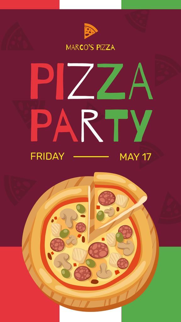Pizza Party Day Ad on Italian Flag — ein Design erstellen