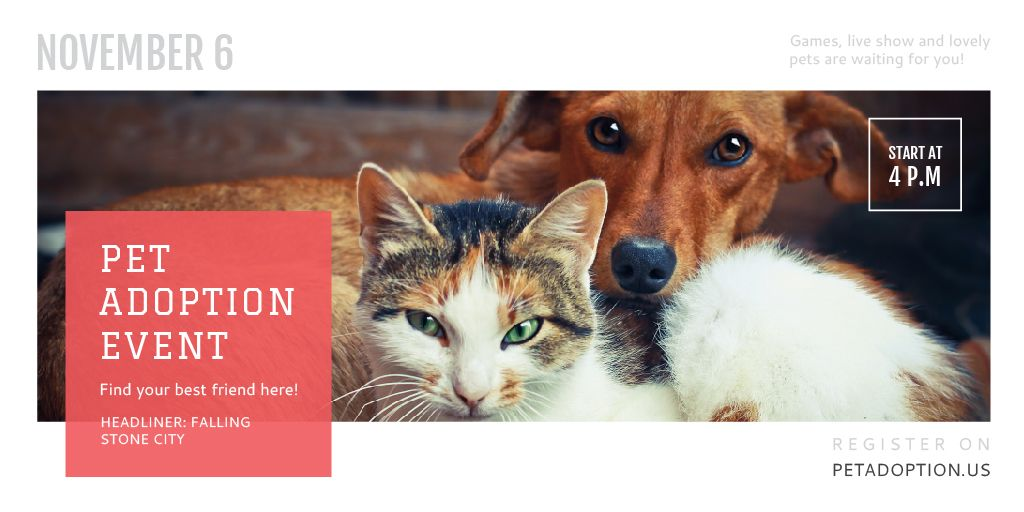 Pet Adoption Event with Dog and Cat Hugging Twitterデザインテンプレート