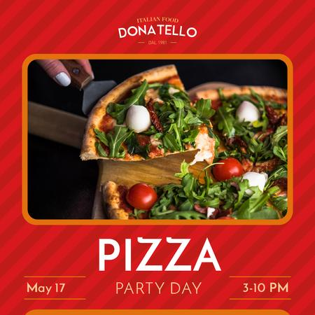 Pizza Party Day Announcement Instagram Modelo de Design