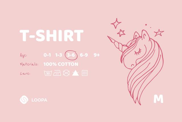 Kids Clothes care instructions with Unicorn Label Modelo de Design
