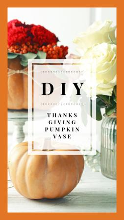 Ontwerpsjabloon van Instagram Story van Thanksgiving Decorative Small Pumpkins Vases