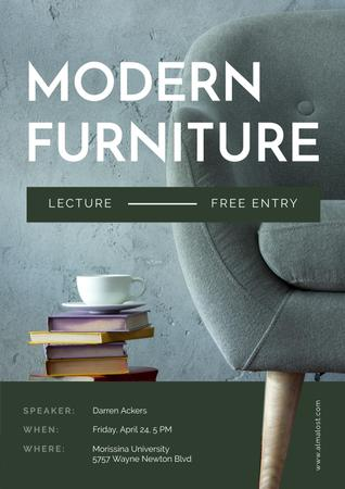 Ontwerpsjabloon van Poster van Modern Furniture Offer with stack of Books and Coffee