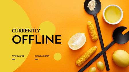 Ontwerpsjabloon van Twitch Offline Banner van Cooking Blog ad with Vegetables