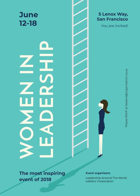 Businesswoman standing by ladder Invitation Modelo de Design
