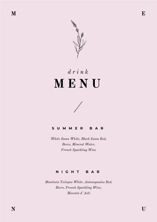 Summer and Night Bar drinks Menu Modelo de Design