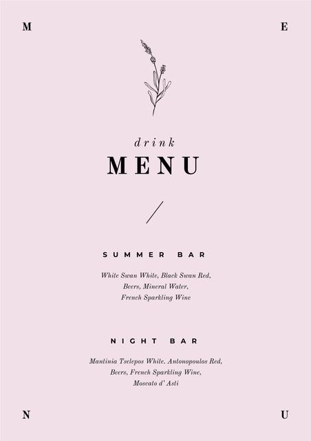 Plantilla de diseño de Summer and Night Bar drinks Menu