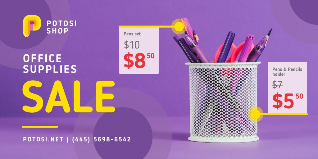 Office Supplies Sale with Stationery in Purple — Crear un diseño