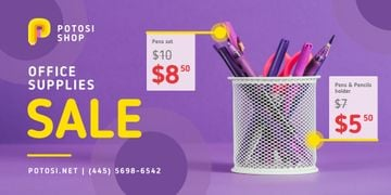 Office Supplies Sale Stationery in Purple | Twitter Post Template