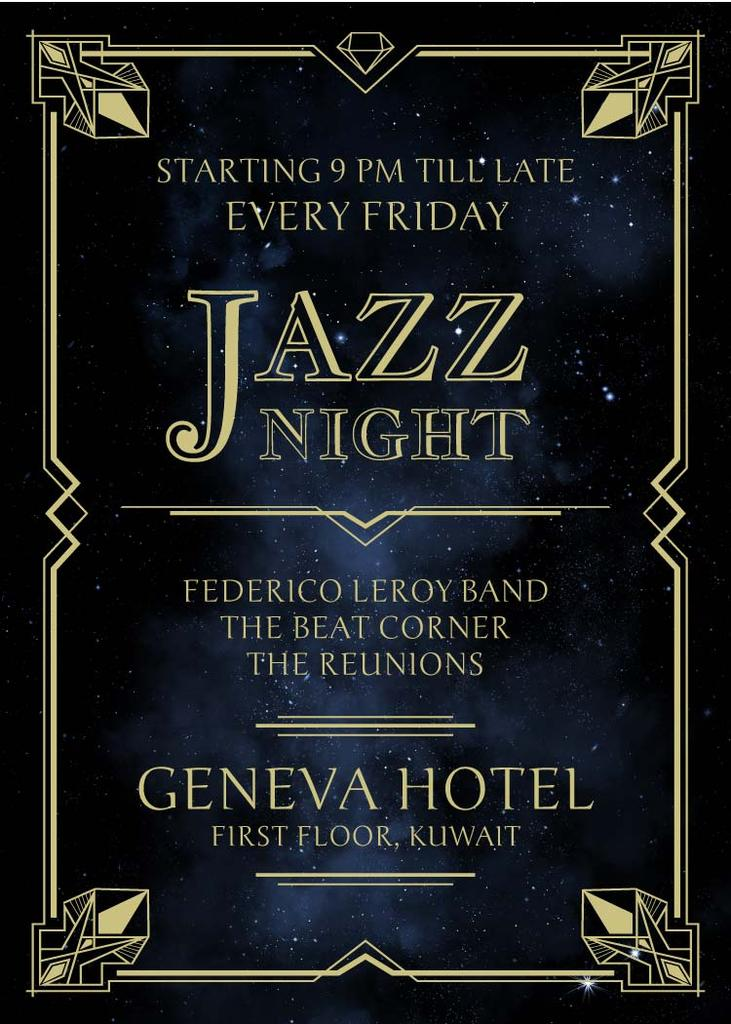 Jazz Night Invitation on Night Sky — Maak een ontwerp